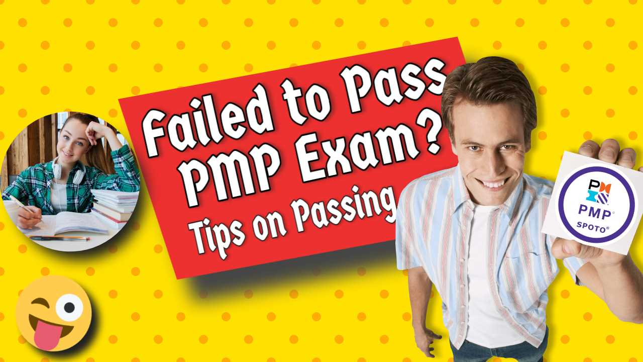 """Image text: """"Failed to Pass PMP Exam - Tips""""."""